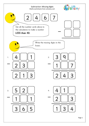 Subtraction Missing Digits on missing number worksheets