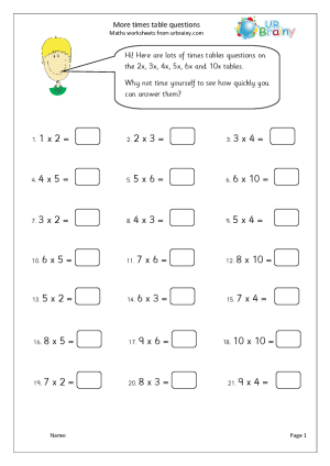 More times table questions urbrainy for 10x table worksheets