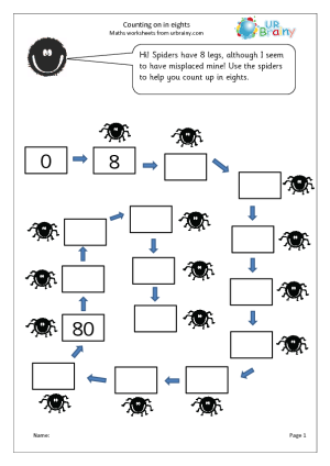 Counting In Eights on counting worksheets