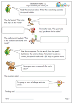 Quotation marks worksheets for year 3