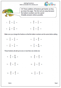 math worksheet : adding fractions 207x300  : Year 6 Fractions Worksheets