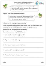 Direct and indirect speech worksheets - URBrainy