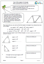 Year 5: Sum of angles of a triangle