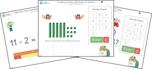 On-screen addition and subtraction activities for years 1-3